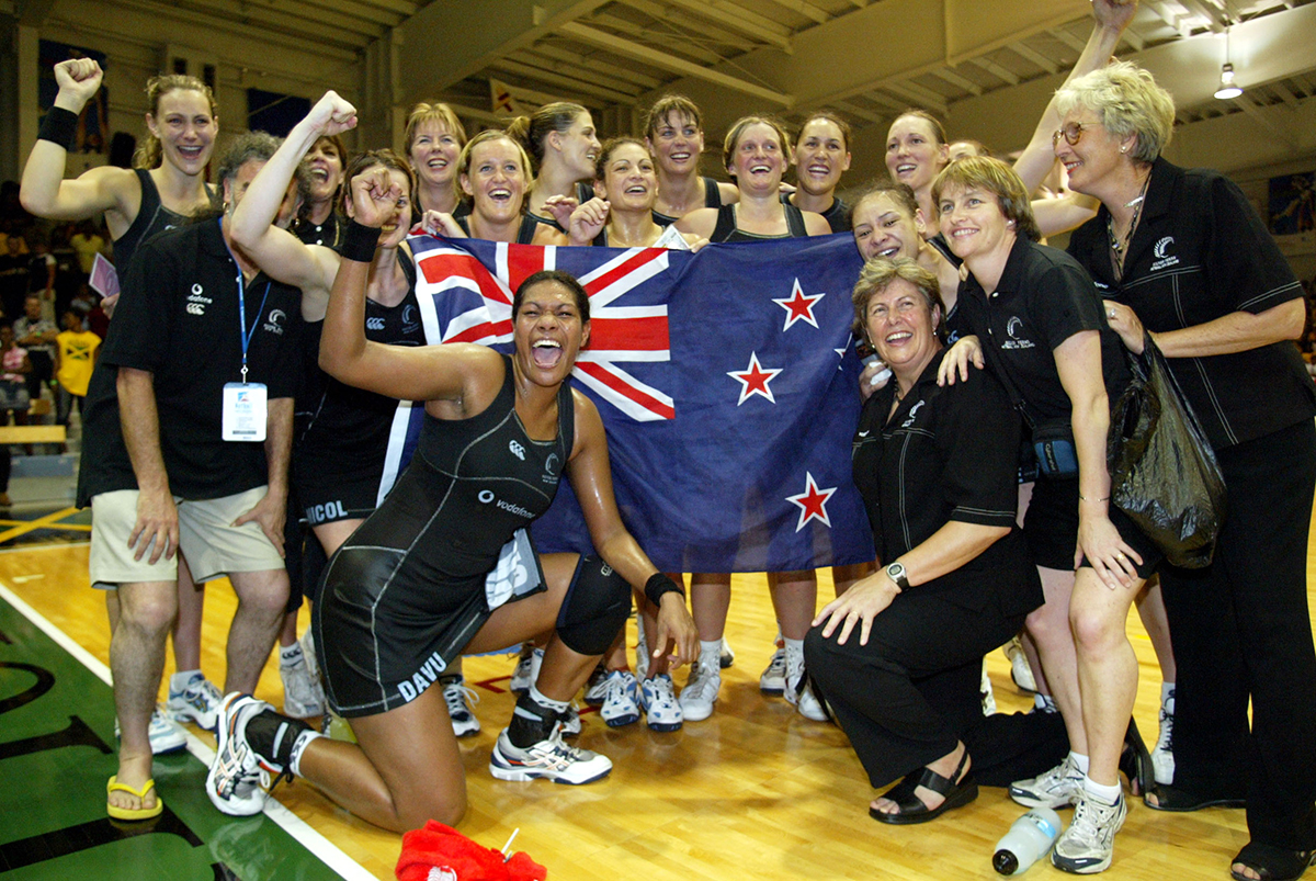 11. The Silver Ferns celebrate after the final between the Silver Ferns and Australia at the World Netball Champs held at the Independance Park Stadium in Jamaica