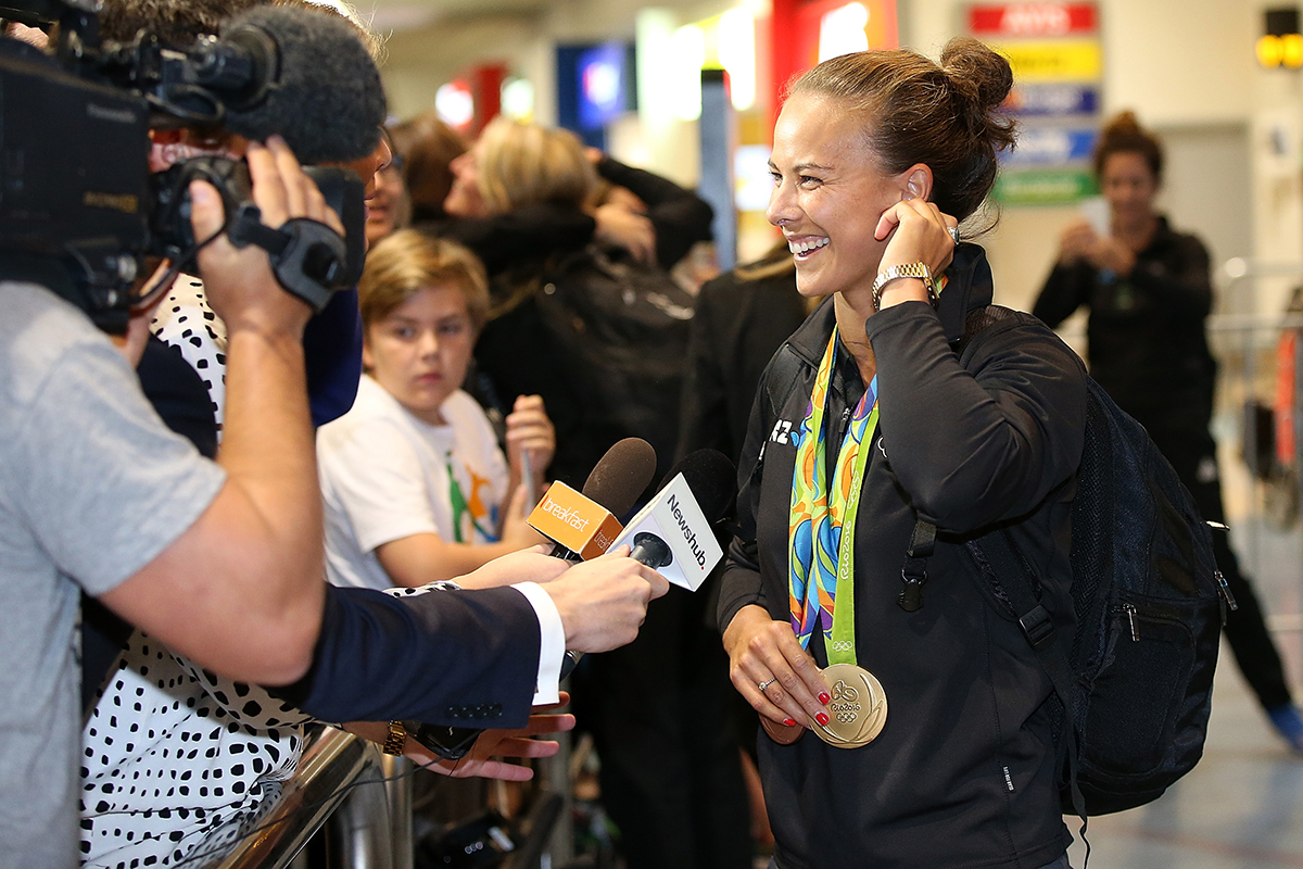 12. Canoe Sprint Double Olympic medalist Lisa Carrington arrives during the New Zealand Olympic Games athlete home coming at Auckland International Airport