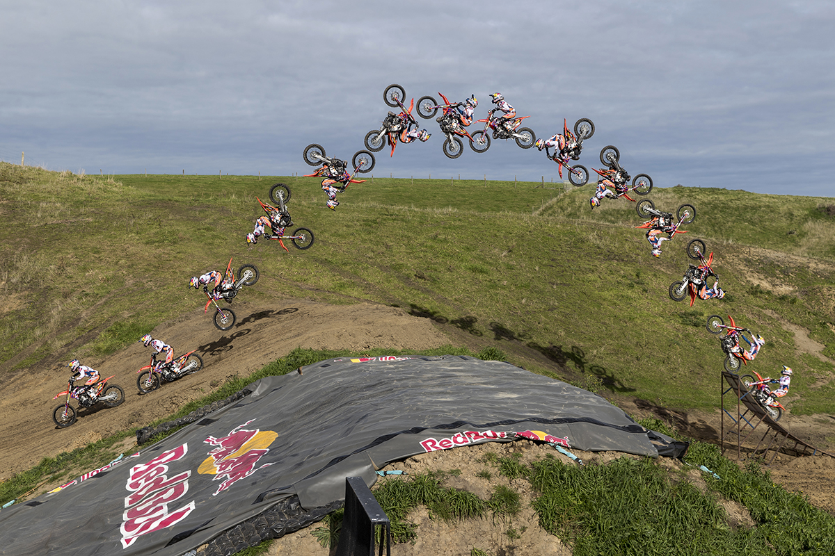 16. Levi Sherwood performs a double back flip to dirt at his FMX training track in Palmerston North New Zealand on May 16 2017