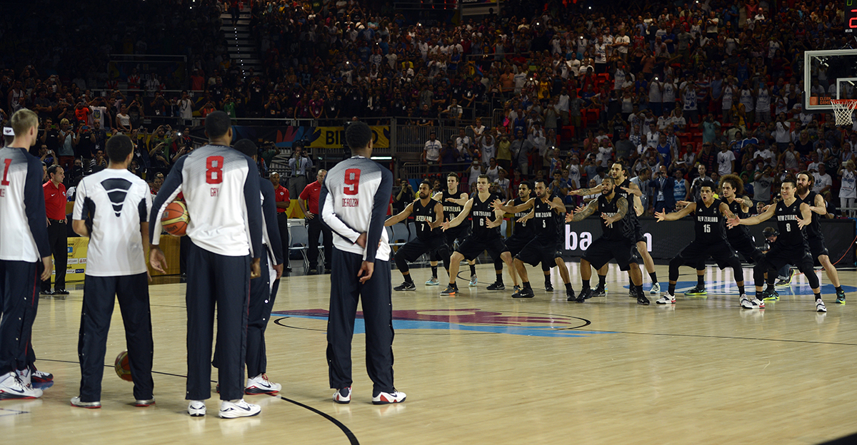 17. US basketball team players watch as New Zealand basketball team players perform the a haka prior to their 2014 FIBA Basketball World Cup Group C match at the Bizkaia Arena in Bilbao Spain