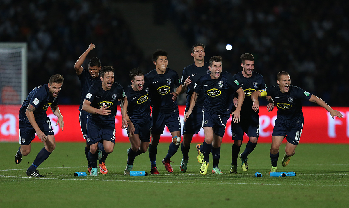 19. Auckland City celebrate after winning the penalty shoot out during the FIFA Club World Cup 3rd Place match between Cruz Azul FC in Morocco