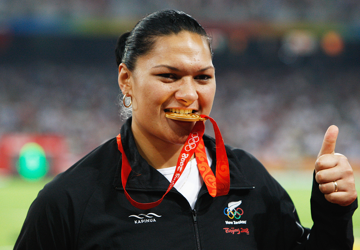 3. Valerie Adams of New Zealand receives the gold medal during the medal ceremony for the Womens Shot Put Final held at the National Stadium on Day 9 of the Beijing 2008 Olympic Games on August 17 2008 in Beijing China