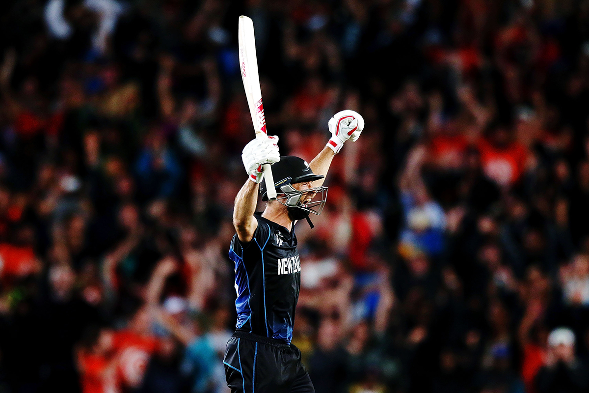 6. Grant Elliott celebrates after hitting a six to win the 2015 Cricket World Cup Semi Final match between New Zealand and South Africa at Eden Park on March 24 2015