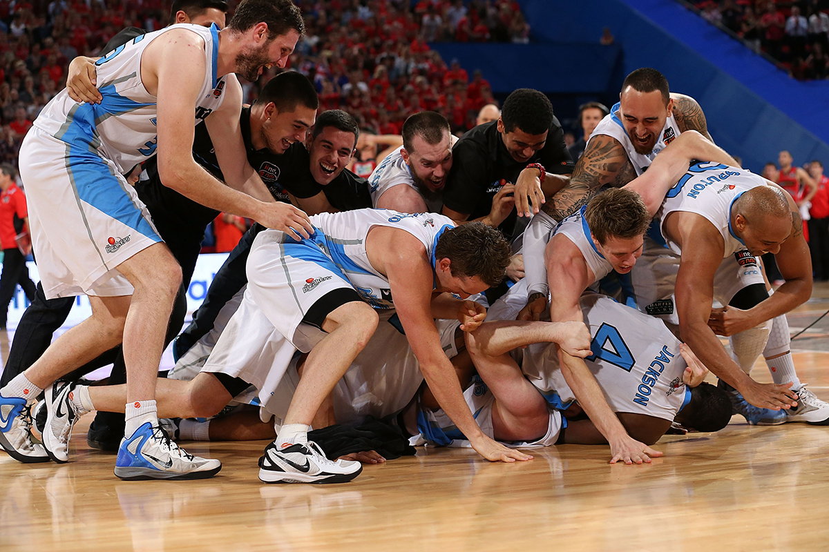 9. The Breakers celebrate on the court after winning the NBL Championship during game two of the NBL Grand Final series between the Perth Wildcats and the New Zealand Breakers at Perth Arena