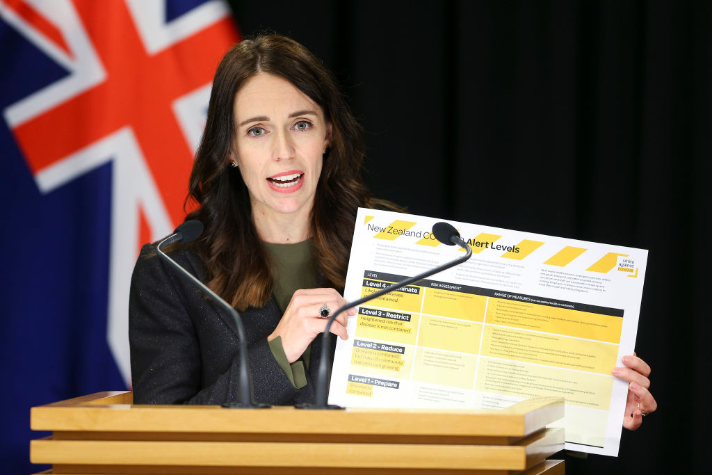 Jacinda Ardern holds image of new Covid-19 alert levels
