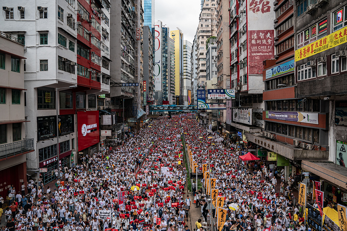 Sea of people protesting on HK street